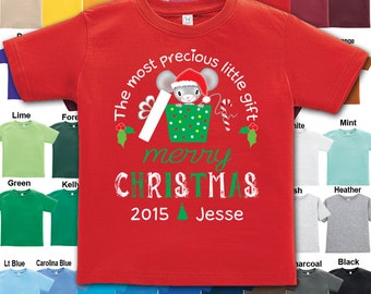 Merry Christmas - The most precious little gift - Personalized with Name & Year - Tee / Boys / Girls / Infant / Toddler / Youth sizes