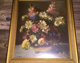 Framed R. Colao Still Life - Flowers
