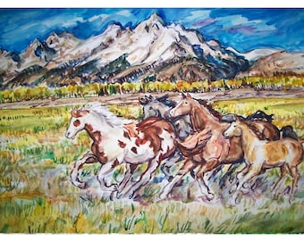 MOUNTAIN VALLEY HORSEs - painting original western landscape watercolor one-of-a-kind OOAK 11x15, Animal Art, Wild Horse, Mountain Range