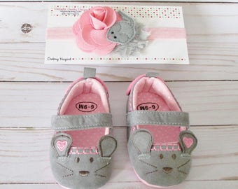 Baby Shoes Pip Squeak Mouse headband & shoe set 6-9 Month SIZE girl pink grey shoes velcro mary jane new baby trendy girl shower gift