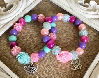 Set of 6 tea party bracelets.. tea pot bracelets.. party favor.. Princess party favors.. princess party.. tea party favors