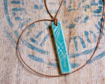 Long turquoise pendant, Ceramic necklace, essential oil diffuser pendant, clay necklace