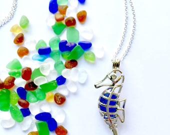 Seahorse locket necklace, sea glass locket, silver seahorse pendant, blue sea glass locket