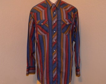 Vintage Wrangler Western Button Front Shirt Striped Multi Color X-Large Cotton Blend 65% cotton 35 Polyester