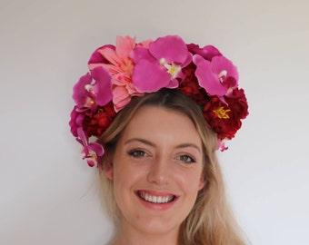 Pink Peach Red Orchid Dahlia Frida Flower Crown Headdress Festival Headpiece Fascinator
