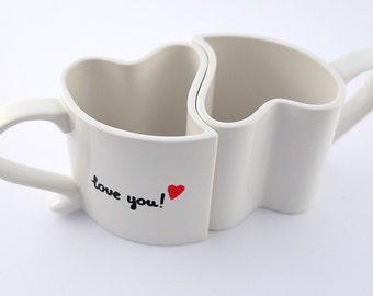 Marriage coffee mugs I love you I love you more couples gift mugs love mugs set of two heart mugs  custom romantic mugs  wedding gift mugs