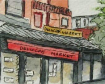 Boston Watercolor Painting Pen Ink Deluca's Market Newbury St Boston Artist Trading Note Card Gift Set Original Landmark Kathleen Daughan