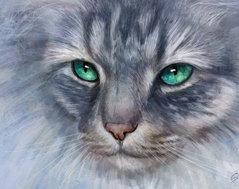 Custom Cat Portrait Custom pet portrait Digital drawing Portrait from photo  Cat lover gift Valentine's Day Gift cat memorial
