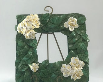 White Gardenia Hand Sculpted Picture Frame – Polymer clay