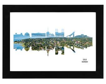 Oslo Norway Skyline Print with aerial city photo