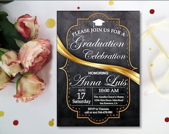 Graduation Party Invitation . Graduation . Grad Invites . Black And Gold Graduation Announcements. Graduation Party Printable Digital Invite