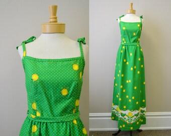 1960s Malia Bird and Sunflower Maxi Dress
