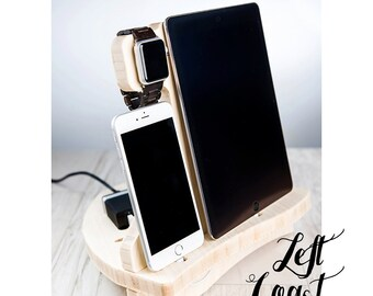 Apple Watch Charging Station Dock iPhone iPad Stand  Father Her Him Men Women Wedding Bride Groom  The Sailing Dock