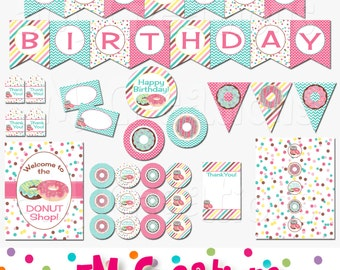 Donut Birthday Party Decorations - Donut Party Package - Doughnut Shop - Donut Banner - Digital Package - INSTANT DOWNLOAD PDF