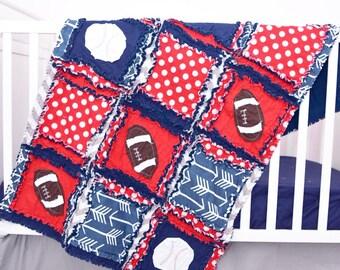 Sports Crib Bedding - Navy / Red / Gray Baby Bedding - Football Quilt Baseball Nursery Baby Blanket Size- Baby Boy Rag Quilt- Baseball Quilt