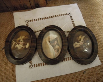 Vintage Tin Trio Frame / Mother Mary and Child, Cupid Awake, Cupid Asleep / Antique Sepia Photographs / Original Tin Frames