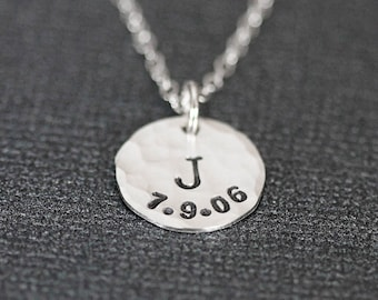Birthdate Necklace, Kids Birth Date & Initial, Mothers Day Necklace, Mothers Day Jewelry, Sterling Silver