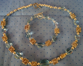 Handmade Glass Beaded Neclace and Bracelet