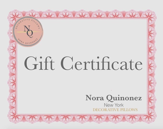 Nora Quinonez Gift Certificate, Gift Card, Etsy Custom Gift-Birthday Gift Certificate-Last Minute Gift-Same Day Shipping, E-Card