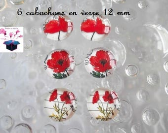 6 glass cabochons 12 mm for loop theme poppy number 6