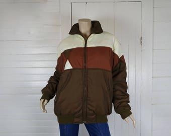 Début des années 80 en Nylon manteau en veste de Ski Vintage marron et blanc-1980 / Puffy manteau / Puffer - matelassé - Medium - nouvelle vague-Triangle Design