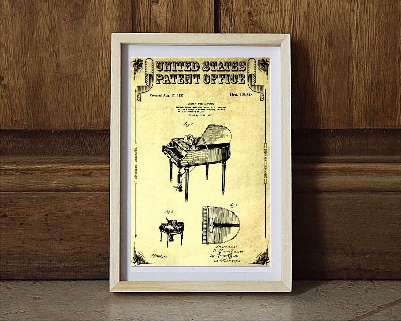 Wurlitzer Piano Patent Patent Print Wall Decor Music