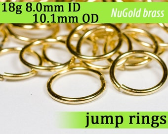 18g 8.0 mm ID 10.1 mm OD NuGold brass jump rings -- 18g8.00 open jumprings