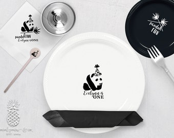 panda plate cup etsy