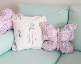 Pillows with butterfly pink and blue cotton 40x40cm nursery