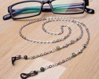 Glasses neck chain - Green Moss Agate gemstone and heart link silver glasses chain | Eyeglasses neck cord lanyard | Eyewear fashion