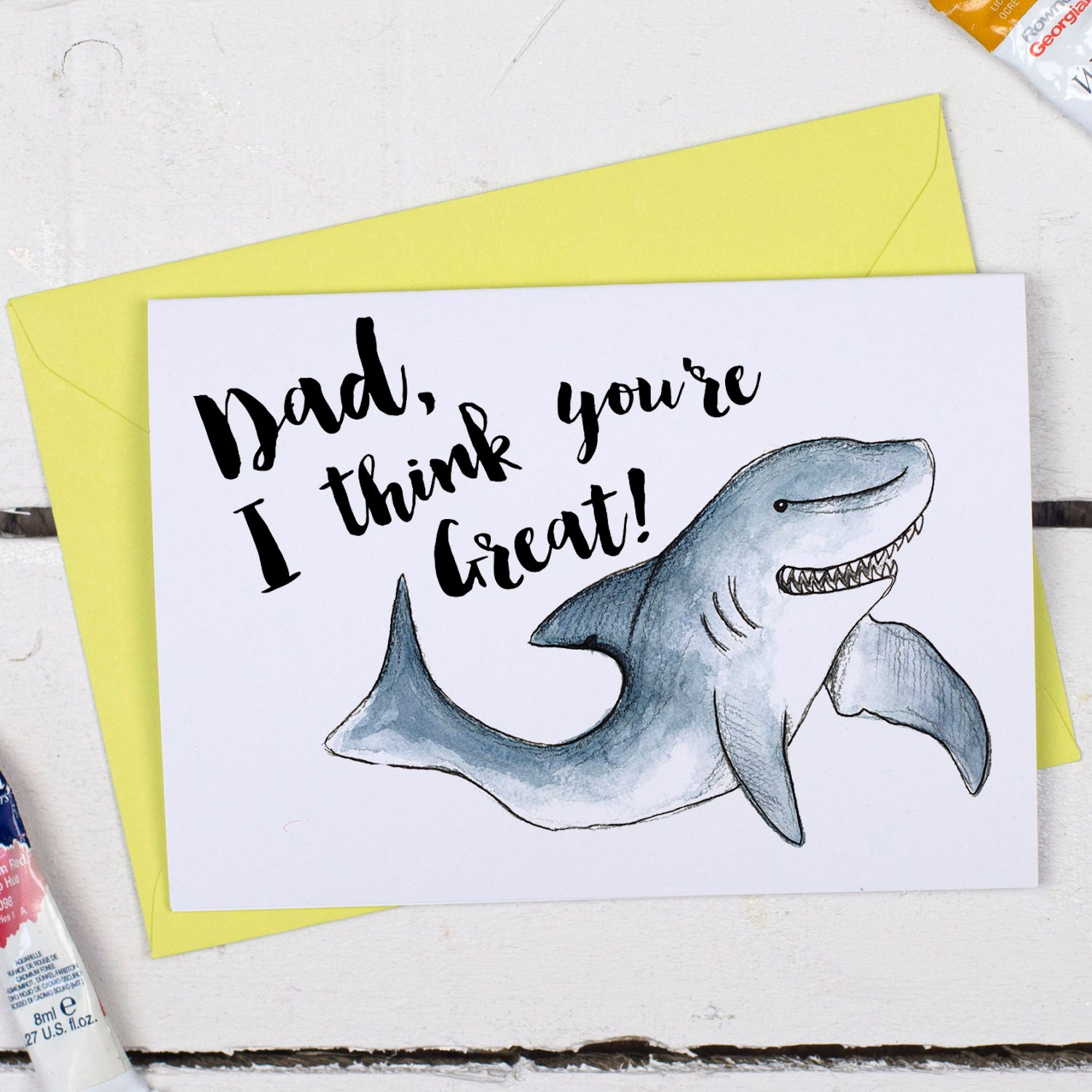 Funny Shark Father s Day card Birthday card for Dad