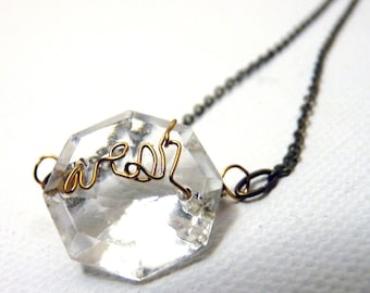 Wish Golden crystal Necklace- brass - small- wire text antique chandelier crystal pendant
