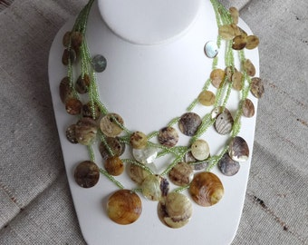 Vintage, Shell and Seed Bead Necklace