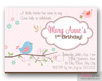 Bird Invitation PRINTABLE - Girl 1st Birthday Party - on Branch with Presents