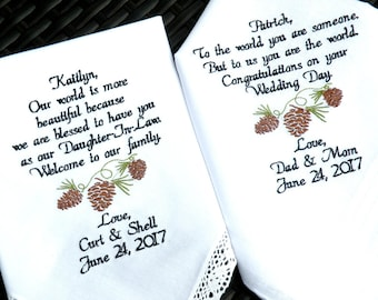 Daughter Wedding Gift Son Wedding Gift in-Law Embroidered Wedding Handkerchiefs Wedding Day Gifts Wedding Gift by Canyon Embroidery