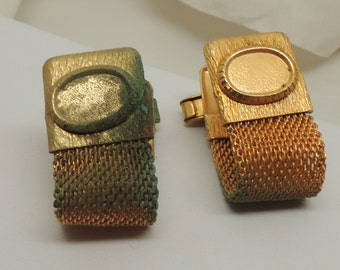 Vintage Gold Mesh Cuff Links