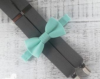 Boy Suspender Bow Tie Set - Mint Green Bow Tie - Gray Suspenders - Wedding Accessory