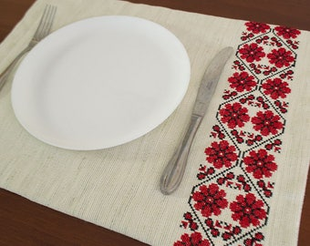 Table Placemat, Embroidered Placemat, Fabric Placemat, set of two