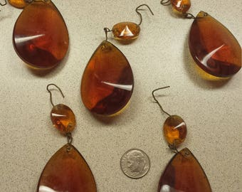 Crystal Prisms, 5 Pcs., RARE ,  Amber Glass Crystals,  Amber Prisms, Amber Teardrop Crystals