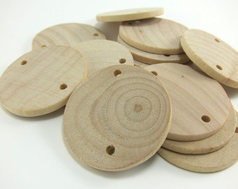 "25 Unfinished Wood Discs Coins Circles with Holes - Birthday board Tags - 1.5"" (3.8cm) Diameter Pendant"