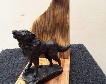 Calling Wolf .An original sculpture using reclaimed bronze.