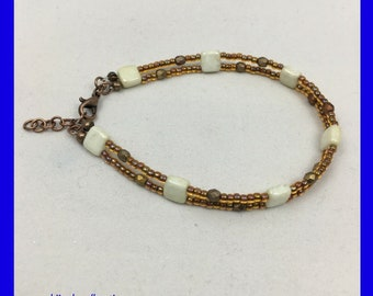 Dainty Double Strand Seed Bead Bracelet / Earth Tone Bracelet / Boho Chic Bracelet / One of a Kind / Unique Gift Ideas / Boho Style Bracelet