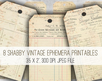 Vintage Ephemera Tags Digital Collage Sheet Download - 1022 - Digital Paper - Instant Download Printables