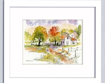 Farmhouse Decor Original Pen Ink Watercolor Country Pastoral Sheep Landscape FREE Shipping