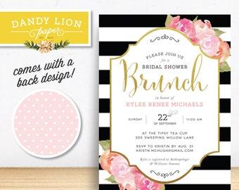 Black Stripes + Peonies Bridal Shower Brunch Digital Invitation - DIY Printable