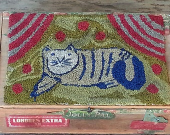 Primitive Punch Needle Cat  Pattern pdf epattern  Rug Hooking Mat Picture  Old Antique Style Hickety Pickety