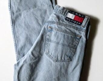 Tommy Hilfiger Vintage Men's 34 x 42 Light Wash Straight Leg Jeans Logo Patch Grunge 90s 80s