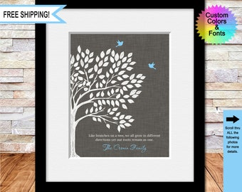 """Family Gift, Parent's Gift, Christmas Gift, Anniversary Gift, """"Like Branches on a Tree"""", Family Tree Print, Wedding Gift"""