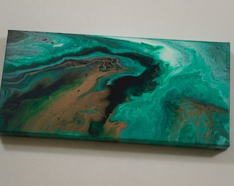 Original Acrylic Pour Painting, Abstract Painting, Acrylic Painting on Canvas, Green, Gold