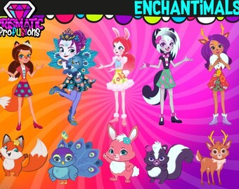 Enchantimals / Image Clipart / Party / Design / DIY Modern Printable / Digital File / PNG / Stickers / Instant Download / Enchantimals Party